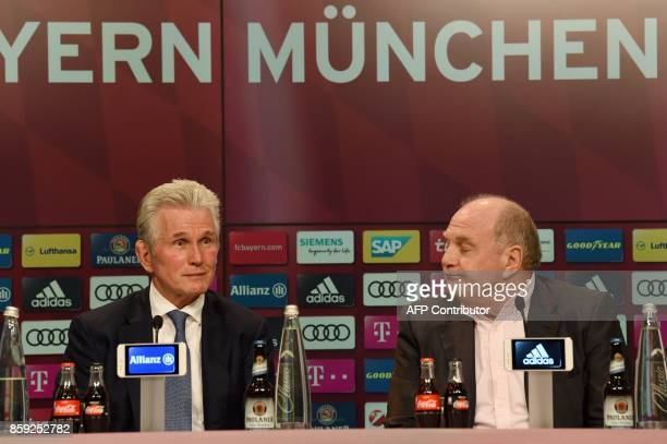 German first division club Bayern Munich's President Uli Hoeness and the club's new head coach Jupp Heynckes give a press conference following...