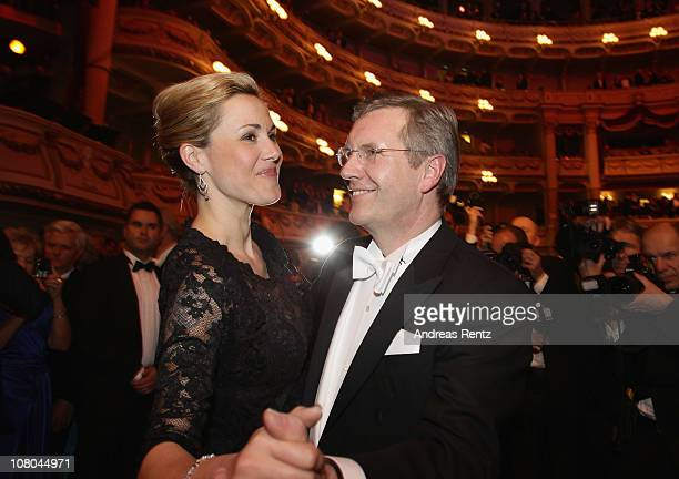 German First Lady Bettina Wulff and German President Christian Wulff dance at the Semper Opera ball on January 14, 2011 in Dresden, Germany.