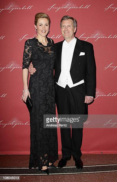 German First Lady Bettina Wulff and German President Christian Wulff arrive at the Semper Opera ball on January 14, 2011 in Dresden, Germany.