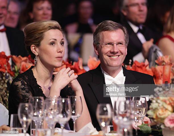 German First Lady Bettina Wulff and German President Christian Wulff attend the Semper Opera ball on January 14, 2011 in Dresden, Germany.