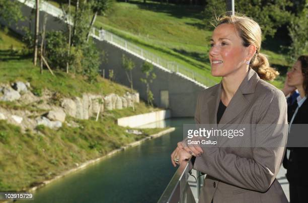 German First Lady Bettina Wulff watches bears at the cty's bear enclosures on September 8 2010 in Bern Switzerland Mrs Wulff and German President...