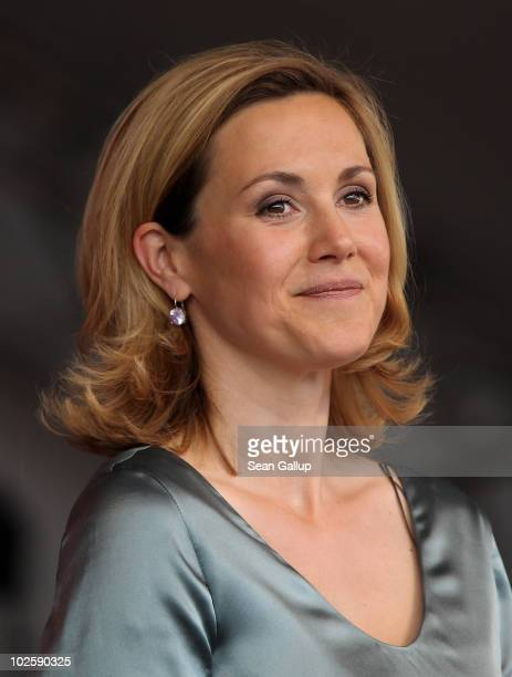 German First Lady Bettina Wulff, wife of newly-elected German President Christian Wulff, attends the President's annual summer garden party at...
