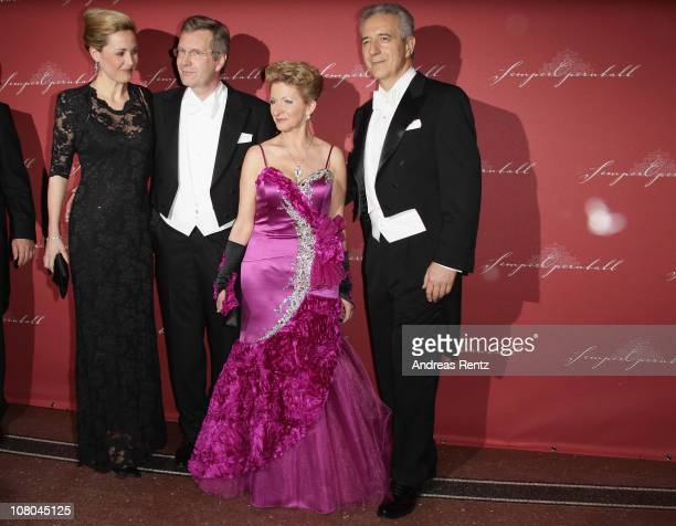 German First Lady Bettina Wulff with German President Christian Wulff and Veronika Tillich with Stanislaw Tillich arrive at the Semper Opera ball on...