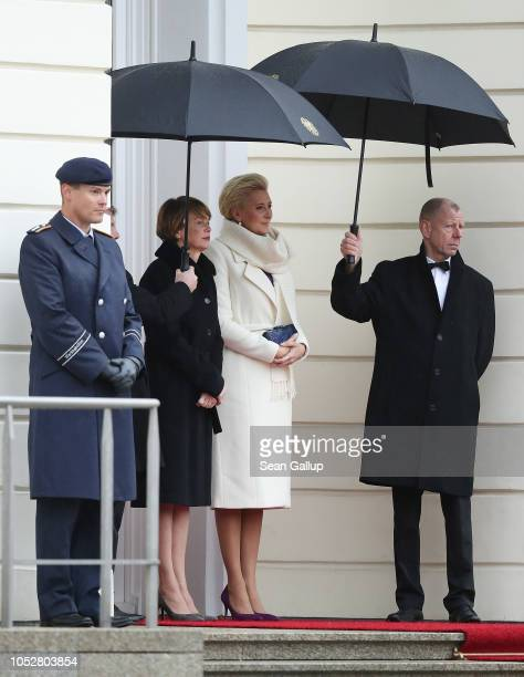 German First Lady Elke Buedenbender and Polish First Lady Agata KornhauserDuda watch their husbands Polish President Andrzej Duda and German...