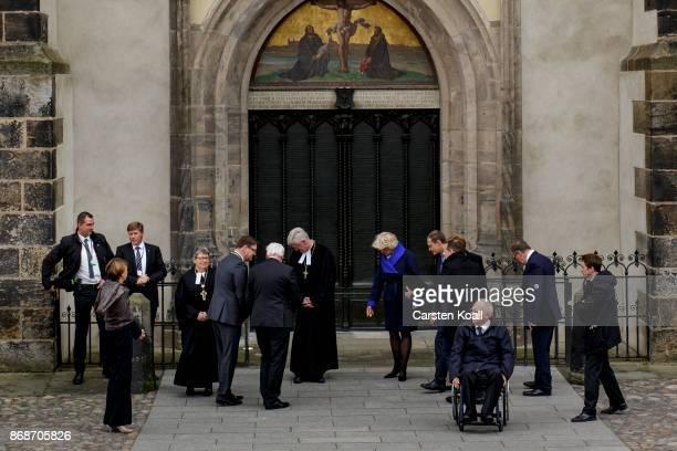 German First Lady Elke Buedenbender Bishop of the Evangelical Church in Central Germany Ilse Junkermann Latvian President Raimonds Vejonis German...