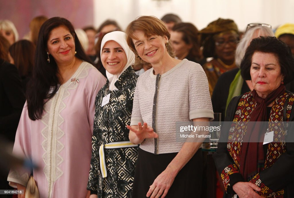 German First Lady Elke Buedenbender, center, listens with Ambassadors wives during the first Reception For Diplomatic Corp Wives in the Bellevue palace on January 12, 2018 in Berlin, Germany.