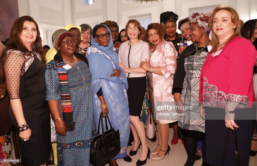 German First Lady Elke Buedenbender, center, poses with Ambassadors wives during the first Reception For Diplomatic Corp Wives in the Bellevue palace on January 12, 2018 in Berlin, Germany.