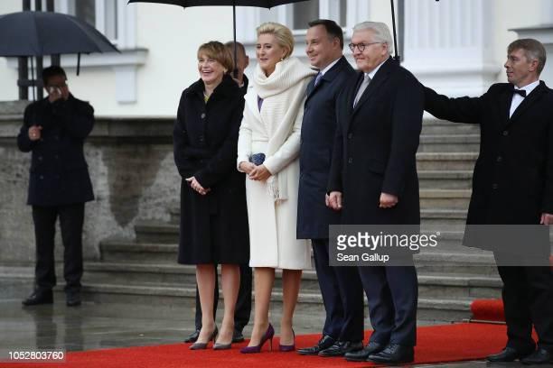 German First Lady Elke Buedenbender Polish First Lady Agata KornhauserDuda Polish President Andrzej Duda and German President FrankWalter Steinmeier...