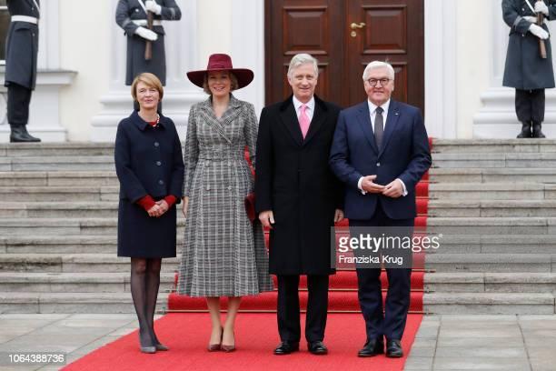 German First Lady Elke Buedenbender, Queen Mathilde, King Philip of Belgium and German President Frank-Walter Steinmeier pose for photographers...