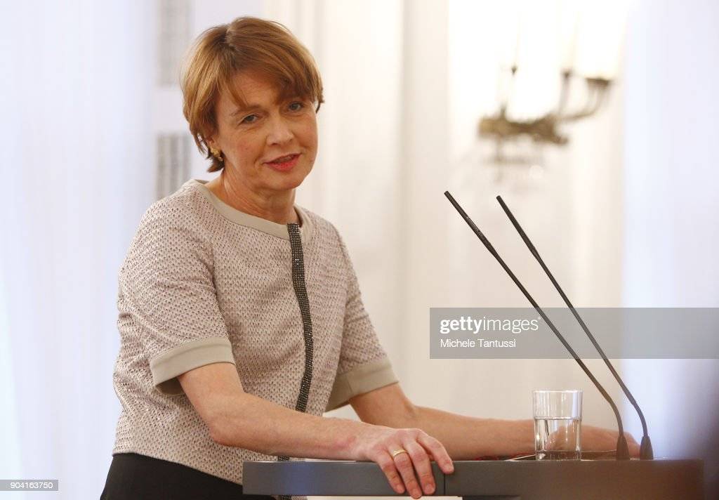 German First Lady Elke Buedenbender speaks during the first Reception For Diplomatic Corp Wives in the Bellevue palace on January 12, 2018 in Berlin, Germany.