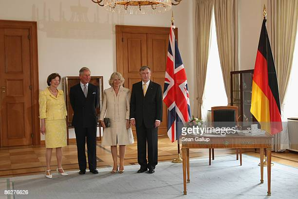 German First Lady Eva Luise Koehler Charles Prince of Wales Camilla Duchess of Cornwall and German President Horst Koehler chat after Cahrles and...