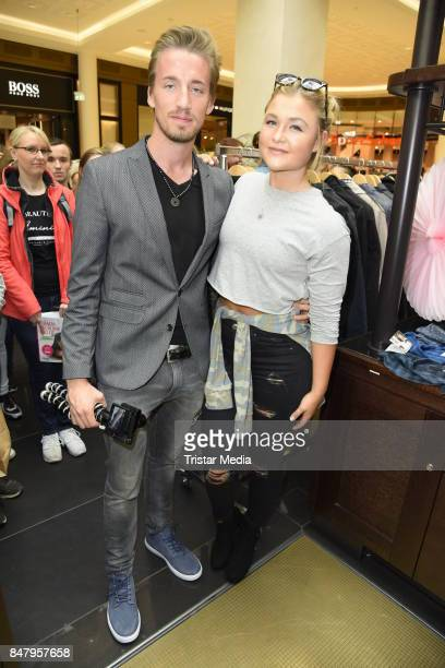 German fitness influencer Sophia Thiel and her bofriend Charlie during the 'Charity Promi Flohmarkt' at Mall of Berlin shopping mall on September 16...
