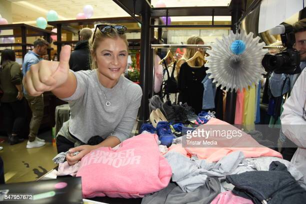 German fitness influencer Sophia Thiel during the 'Charity Promi Flohmarkt' at Mall of Berlin shopping mall on September 16 2017 in Berlin Germany