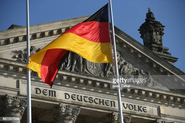 Dem deutschen Volke which means To the German people at the Reichstag seat of the Bundestag on October 17 2017 in Berlin Germany Following German...