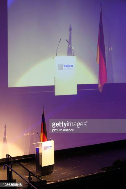 A German flag hangs behind the lecturn ahead of the congress of the rightwing populist ENF group in the European Parliament in Koblenz Germany 21...