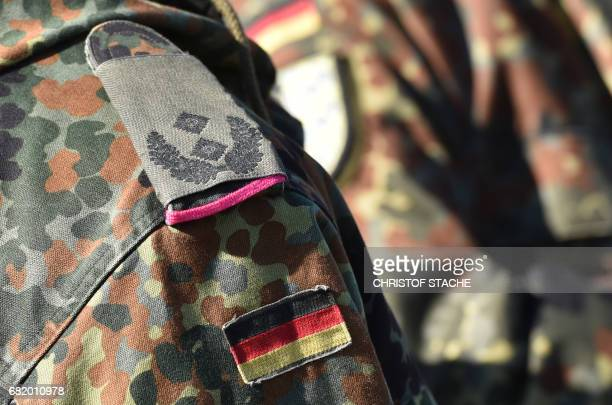 A German flag is seen at a uniform of a German lieutenantcolonel during the exercise 'Strong Europe Tank Challenge 2017' at the exercise area in...