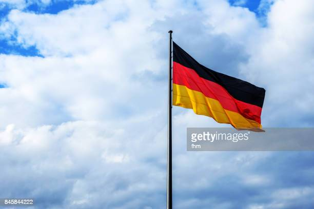 German flag with clouds