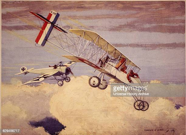 German Fokker Monoplane Attacking French Voisin BiPlane circa 1915
