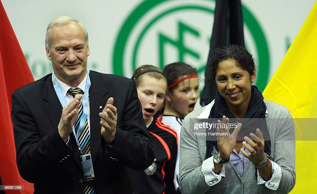 German Football Association (DFB) chairboard member Hans-Georg Moldenhauer (L) and FIFA Women's World Cup 2011 Organising Committee President Steffi Jones attend the T-Home DFB Indoor Cup at the Boerdelandhalle on January 23, 2010 in Magdeburg, Germany.