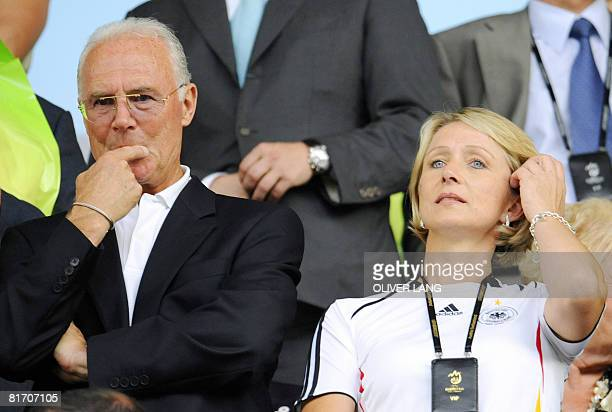 German football coach manager and former player Franz Beckenbauer and his wife Heidi attend the Euro 2008 championships semifinal football match...