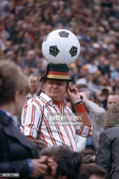 A German football fan watching the FIFA World Cup Final between West Germany and Holland at the Olympic Stadium in Munich 7th July 1974 West Germany...