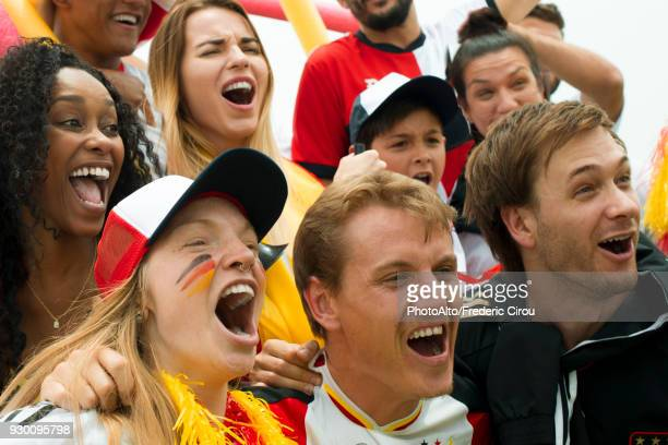 german football fans cheering at match - northern european stock photos and pictures