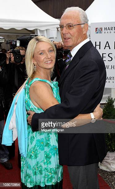 German football legend Franz Beckenbauer and his wife Heidi attend the gala dinner of the Kaisercup Golf tournament on July 24 2010 in Bad Griesbach...