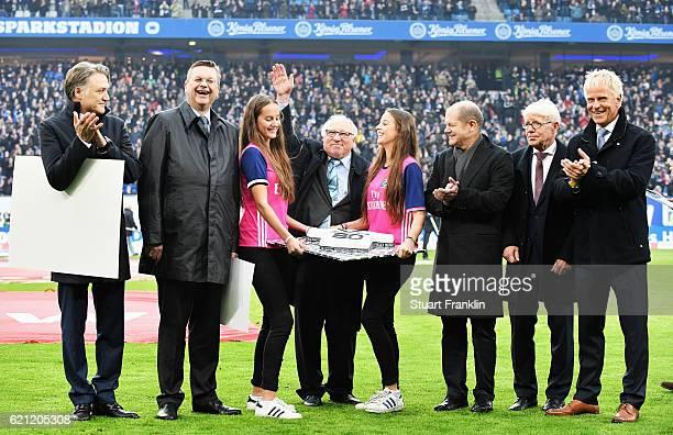 German football legend Uwe Seeler celebrates his 80th birthday with Dietmar Beiersdorfer, CEO of Hambuger SV, Reinhard Grindel, DFB President, Olaf...