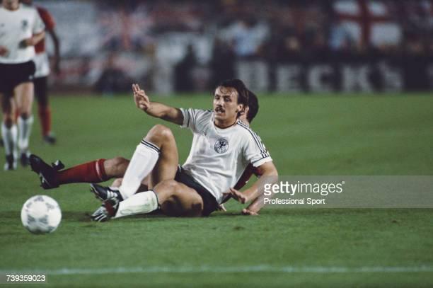 German footballer and striker with the West Germany national football team Klaus Allofs pictured in action during a West Germany international match...