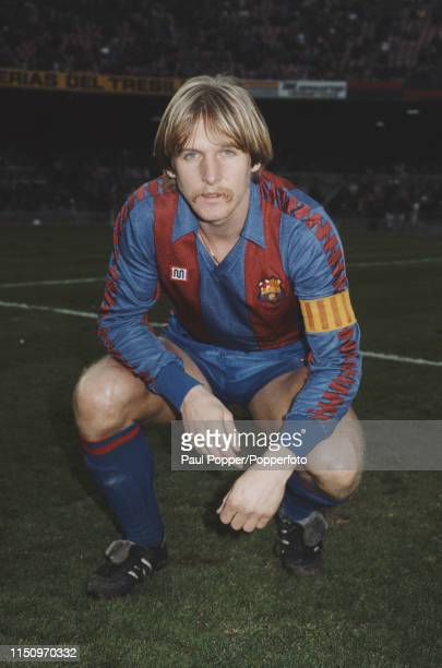 German footballer Bernd Schuster midfielder with FC Barcelona pictured on the pitch at the club's Camp Nou stadium in Barcelona Spain in 1985