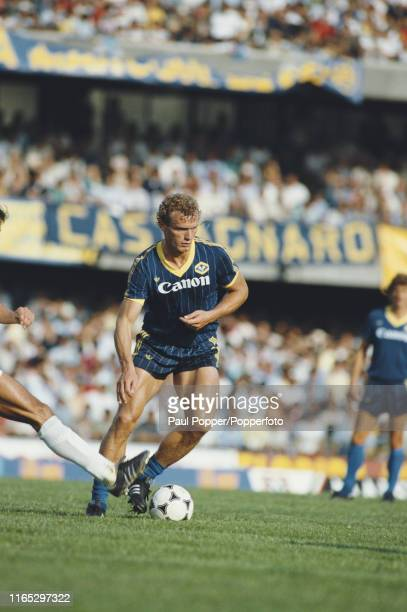 German footballer Hans-Peter Briegel, defensive midfielder with Hellas Verona FC, pictured in action for the club during play in a Serie A match in...
