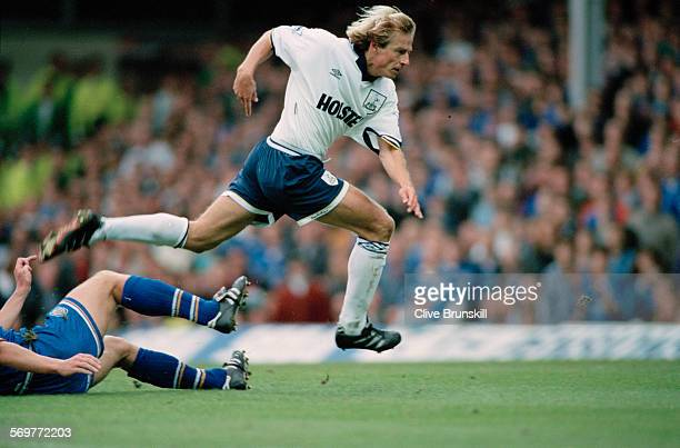 German footballer Jürgen Klinsmann in action for Tottenham Hotspur against Leicester City in a Premier League match at Filbert Street Leicester 17th...