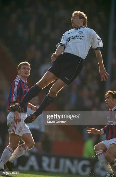 German footballer Jürgen Klinsmann of Tottenham Hotspur, in the air during an FA Carling Premiership match against Crystal Palace at Selhurst Park,...