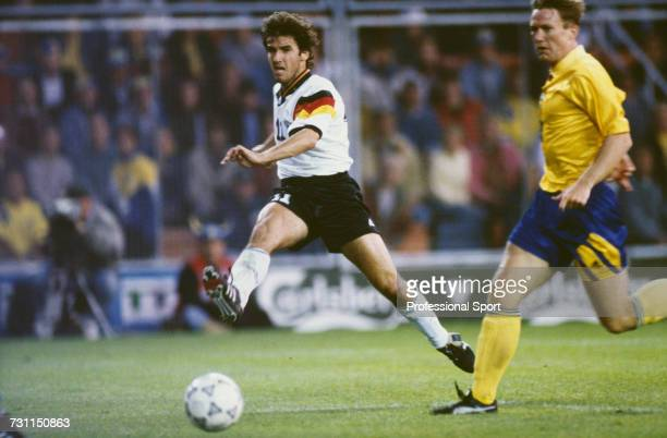 German footballer KarlHeinz Riedle scores the 3rd goal for Germany in the semifinal match between Sweden and Germany in the UEFA Euro 1992...