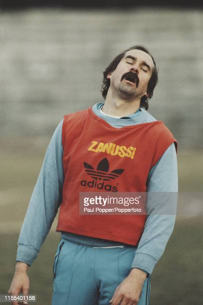 German footballer Uli Stielike, midfielder with Real Madrid CF, pictured during a training session with the club in Madrid prior to playing in a La...