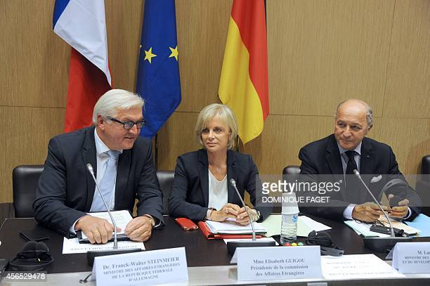German Foreign Affair Minister FrankWalter Steinmeir French President of the Foreign affairs commission Elisabeth Guigou and French Foreign Affair...