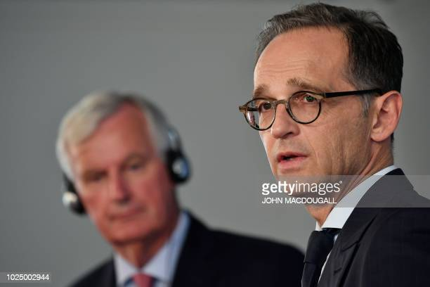 German Foreign Affairs Minister Heiko Maas addresses a press conference with the EU's top negotiator Michel Barnier prior to talks in Berlin on...