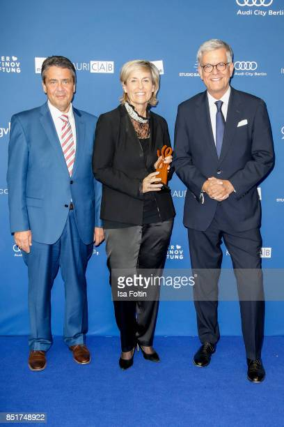 German foreign minister and award winner for inspitarion Sigmar Gabriel with Karola Wille and Thomas Bellut during the 6th German Actor Award...