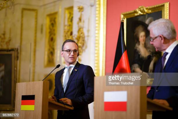 German Foreign Minister and Vice Chancellor Heiko Maas and Foreign Minister of Poland Jacek Czaputowicz speaks to the media after their meeting on...