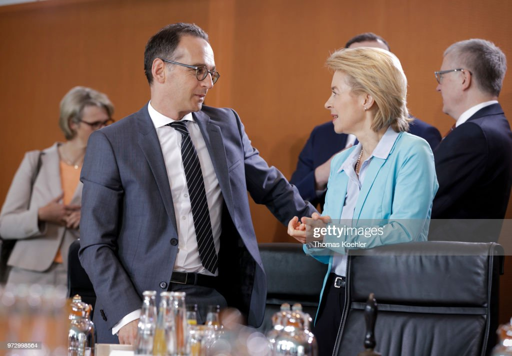 German Foreign Minister and Vice Chancellor Heiko Maas (L) and German Defense Minister Ursula von der Leyen (R) attend the Weekly Government Cabinet Meeting on June 13, 2018 in Berlin, Germany.