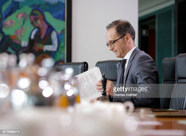 German Foreign Minister and Vice Chancellor Heiko Maas attends the Weekly Government Cabinet Meeting on June 13 2018 in Berlin Germany