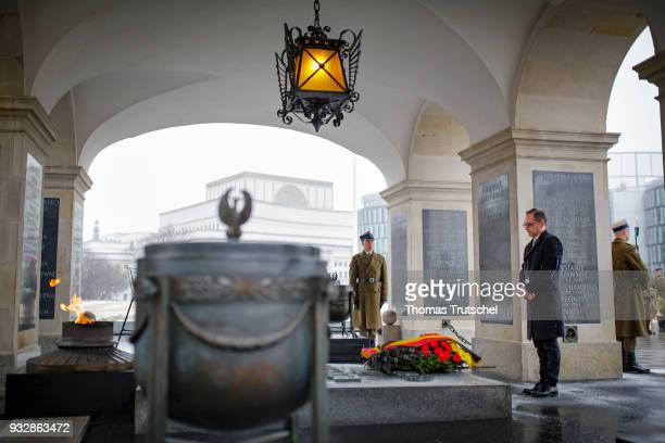 German Foreign Minister and Vice Chancellor Heiko Maas lays a wreath the Tomb of Unknown Soldiers during the his official visit in Warsaw on October...