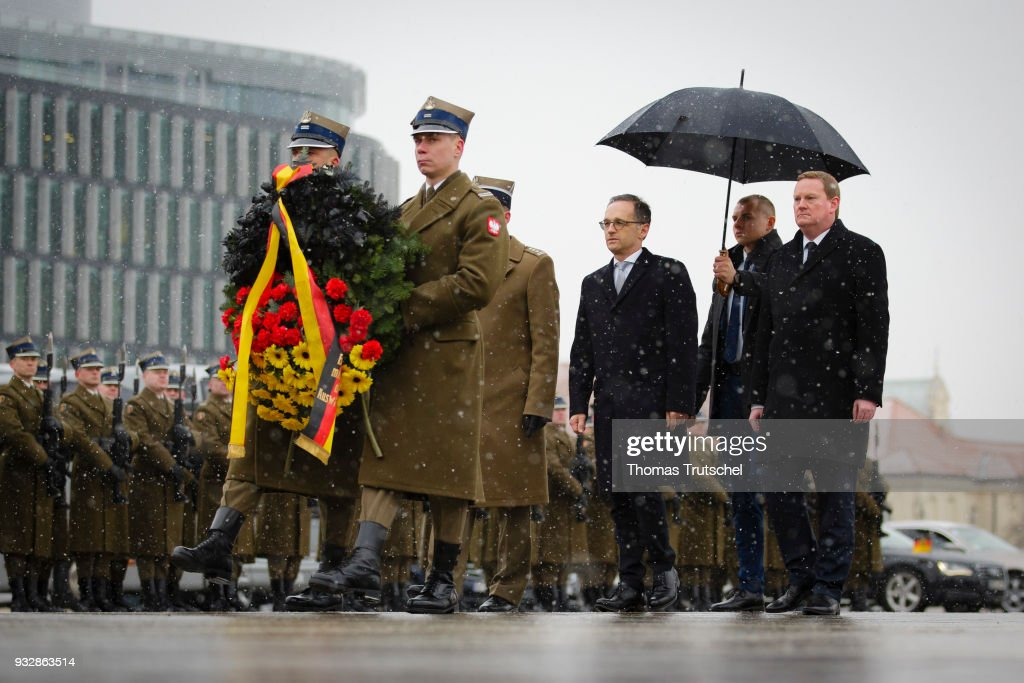 German Foreign Minister and Vice Chancellor Heiko Maas, lays a wreath the Tomb of Unknown Soldiers during the his official visit in Warsaw on October 16, 2018 in Warsaw, Poland. On his second trip as newly elected German Foreign Minister, Maas travels to Poland to hold political talks with members of the government.