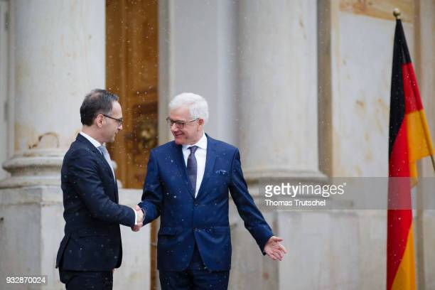 German Foreign Minister and Vice Chancellor Heiko Maas shakes hands with Foreign Minister of Poland Jacek Czaputowicz on October 16 2018 in Warsaw...