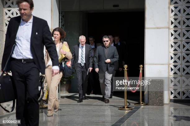 German Foreign Minister and Vice Chancellor Sigmar Gabriel and Franz Josef Kremp German Ambassador in Iraq leave the hotel on April 19 2017 in...