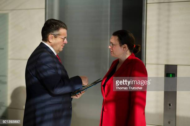 German Foreign Minister and Vice Chancellor Sigmar Gabriel and Parliamentary group leader of the Social Democratic Party Andrea Nahles arrives for a...