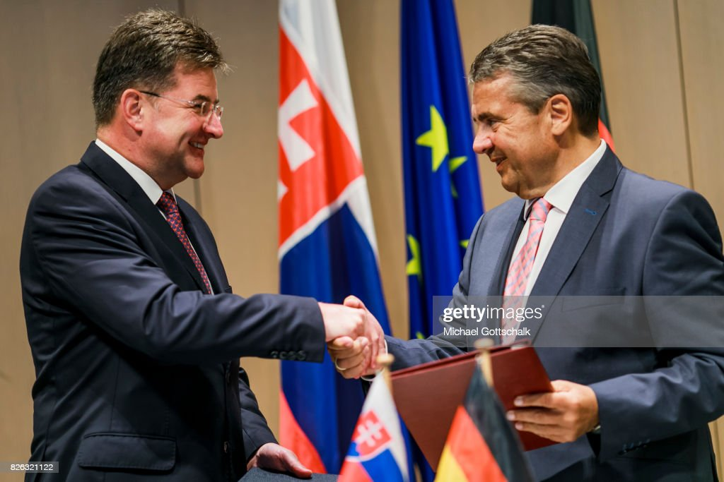 German Foreign Minister and Vice Chancellor Sigmar Gabriel and Miroslav Lajcak, Foreign Minister of Slovakia, sign a letter of understanding concerning the development of German-Slovakia Cooperation on August 04, 2017 in Wolfsburg, Germany.