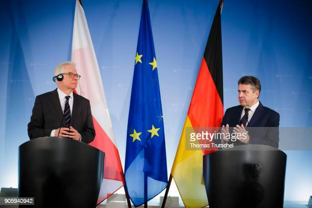 German Foreign Minister and Vice Chancellor Sigmar Gabriel and Polish Foreign Minister Jacek Czaputowicz speaks during a joint press conference after...