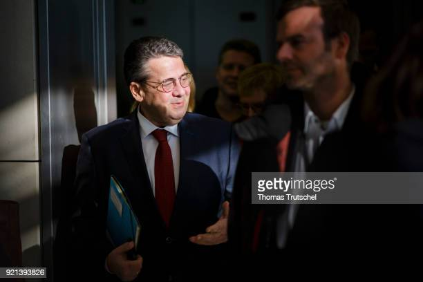 German Foreign Minister and Vice Chancellor Sigmar Gabriel arrives for a faction meeting at Bundestag on February 20 2018 in Berlin Germany