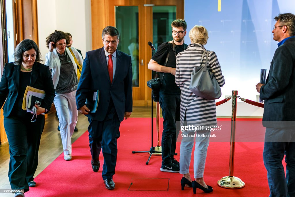 German Foreign Minister and Vice Chancellor Sigmar Gabriel holds a press conference after a meeting with members of the Deep Cuts Commission for nuclear disarmament on August 16, 2017 in Berlin, Germany.